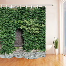 Clover Wall Plant With Wood Door Waterproof Fabric Bathroom Shower Curtain 71