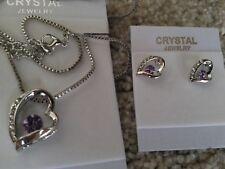 Silver purple Fashion Crystal Pendant Necklace Earrings  heart Set nickel free