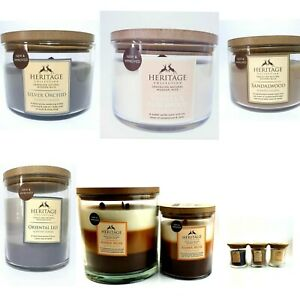 Heritage Large Crackling candles.1 and 3 woodwick Vanilla, amberwood, Lily  470g