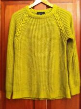 Womens Jumper Olive/Mustard Cable Knit Size 8 (B4)
