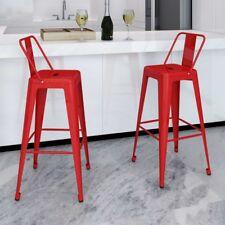 vidaXL 2x Red Steel Bistro High Bar Stool Backrest Kitchen Dining Room Cafe