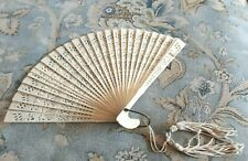 "Vintage Ivory-color Celluloid Hand Fan 11""x7"