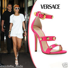 NEW VERSACE HOT PINK LEATHER SIGNATURE MEDUSA STUDDED SANDALS 39 - 9