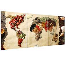 HD Canvas Prints Home Decor Wall Art Painting Picture-Food World Map Unframed A+