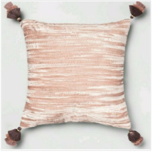 Opalhouse Crinkle Velvet Decorative Throw Pillow Pink 18x18 New with Tags
