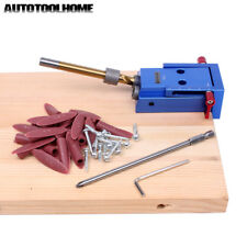 """Woodworking Pocket Hole Jig Kit 3/8"""" Step Drill Bit Joinery Tool For Kreg System"""