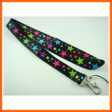 NEW Multi Colour Stars Black Neck Lanyard Strap Cell Mobile Phone,ID Card,Keys
