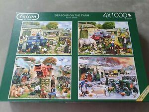 Falcon de Luxe Seasons on the Farm 4 x 1000 Piece Jigsaw Puzzle Kevin Walsh