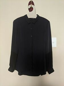 The Kooples Silk Navy Buttoned Blouse Size S