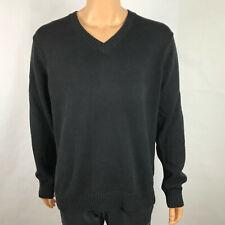 LL Bean Men's Pull Over Sweater V Neck Black 100% Cotton Knitted Size XL Reg