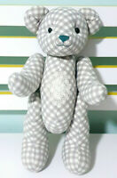 Grey & White Chequered Articulated Teddy Bear Plush Toy 32cm Tall!