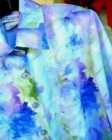 VTG THE TOG SHOP SPRING SZ S M P SATIN BLUE LILAC FLORAL WATERCOLOR BLOUSE WOMEN