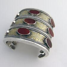 Wide Cuff Bracelet Tribal Cornelian Gilt Sterling Silver