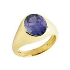 Solid Gold February Birthstone Gentlemans Pinky Ring in 14K (Yellow/Rose/White)