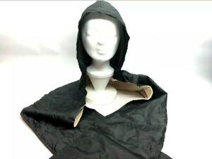 Regenschal mit warmen Fleece und Kapuze   schwarz  neu