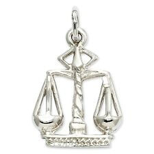14k White Gold Polished Flat-Backed Small Scales of Justice Charm - SKU #123523