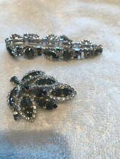 brooch bracelet bangle marked 2 pc Vintage Weiss clear grey rhinestone crystal