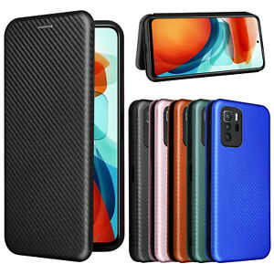 For Xiaomi Redmi note 10 Pro 5G Carbon Fiber Stand Leather Wallet Case Cover