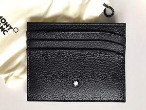 Porta Carte di Credito Montblanc Portafoglio da Uomo Cuoio Pelle Nero Documenti