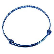 Stainless Steel Blue Twisted Bracelet Bangle Self Adjusting Really Cool!!