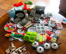 70+ PIECES OF VINTAGE TOY COOKING WARES CUTTERS TINS ROLLING PIN POTS PANS