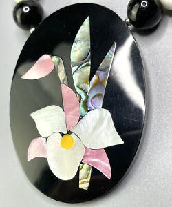 HANDMADE LEE SANDS INLAID SHELL FLOWER NECKLACE BLACK ONYX MOP SHELL ROSE QUARTZ