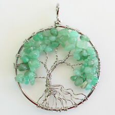 Natural Aventurine Chip Beads Bent Tree of Life Silver Pendant Fit Necklace