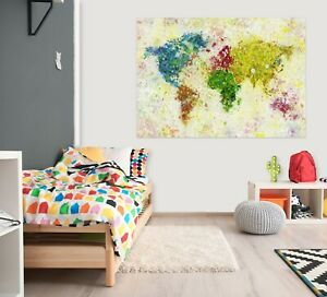 3D Color Painting KEP35 World Map Character Wall Mural Decal Stickers Poster Kay