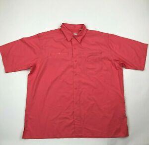 World Wide Sportsman Men Coral Buttoned Short Sleeve Lightweight Shirt sz XL