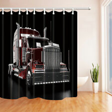 "Red heavy truck head Shower Curtain bath decor Polyester Fabric &12 hooks 71x71"""