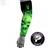 Titanium Baseball Sports Compression Arm Sleeve (Green Flame Ghost Skull)