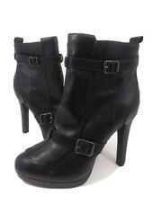 Zapatos de tacón alto nuevas damas Negro Gamuza Estaño Metálico siguiente Toe 2 parte zapatos talla 5