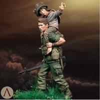 1:24 75mm Vietnam War U.S. Army and Boy Resin Figure High Quality Model Kit