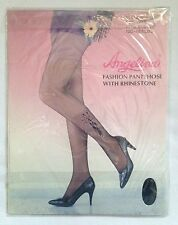 Angelina Black Rhinestone Butterfly Pantyhose One Size To 165lb 100% Sheer Nylon