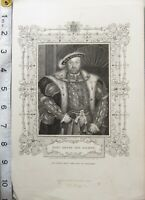 c1850 ANTIQUE PRINT ~ KING HENRY THE EIGHTH