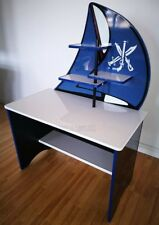 NEW IN! Childrens Pirate Desk - Blue / Black / White - Sail Effect Shelving