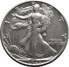 1946 WALKING LIBERTY Half Dollar Bald Eagle United States Silver Coin i44668