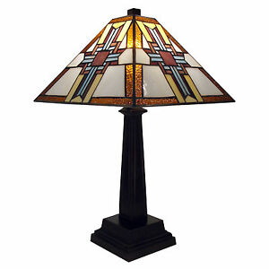"Table Lamp Tiffany Mission Style Gold & Brown Stained Glass Cross Shade 20"" High"