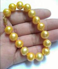 """perfect 7.5-8"""" 9-10MM NATURAL SOUTH SEA GENUINE YELLOW PEARL BRACELET"""