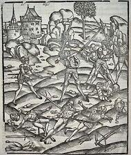 1502 Grüninger INCUNABULA WOODCUT Virgil Aeneid: Mezentius Rages in Battle
