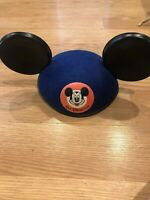 Vintage Walt Disney World MICKEY MOUSE EARS HAT Blue Felt - Youth Size