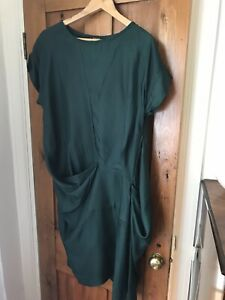 Deep green silk dress by blank, one size but fits 12-14