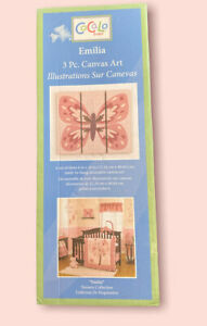CoCaLo Baby Emilia Canvas Wall Art Butterfly 6x16 Ready To Hang Pink Nursery Kid