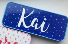 Personalised Pencil Case Tin Gift Back To School Blue