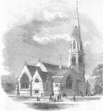 LONDON. New Church of St Paul, Camden Sq, antique print, 1848