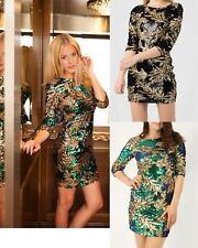 LADIES SEQUINS LEAF PRINT EMBELLISHED WOMENS CHRISTMAS PARTY BODYCON DRESS