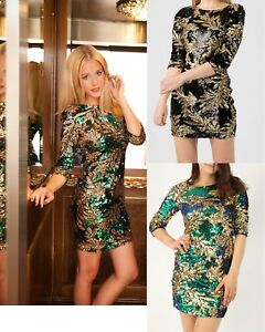 CHRISTMAS PARTY DRESS LADIES SEQUINS LEAF PRINT EMBELLISHED WOMENS BODYCON DRESS