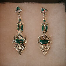 Nice Fashion Earrings With Green Enamol 6.5 x 1.8 Cm. Wide And Studs Without Box