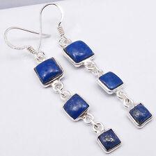 "925 Sterling Silver NAVY BLUE LAPIS LAZULI  3 Square STONE ART Earrings 2.2"""