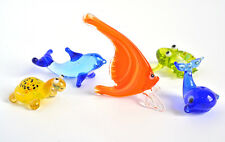 Collection 6. 5 Mini Figurine Glass Fish Figurine Whale Frog Dolphin Turtle